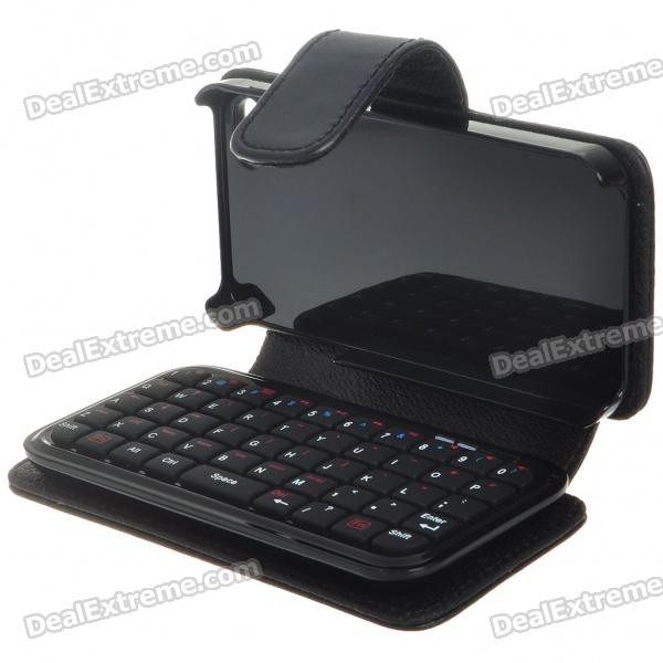49-Key Mini Rechargeable Bluetooth V2.0 QWERTY Keyboard with PU Leather Case for Iphone 4