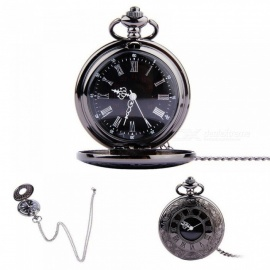 Pocket Watch Vintage Roman Numerals Quartz Watch Clock with Chain Antique Jewelry Pendant Necklace Unisex Black