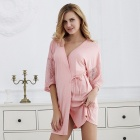 Loose Nightgown Pajamas Spring Robe Lady Bathrobe Homewear For Women Lace Hollow Out Half Sleeves Sleep Dress Pink/XL