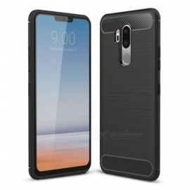 Naxtop Wire Drawing Carbon Fiber Textured TPU Brushed Finish Soft Phone Back Cover Case For LG G7 ThinQ - Black