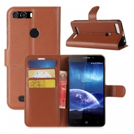 PU Leather Full Cover Wallet Phone Case for Leagoo Kiicaa Power - Brown