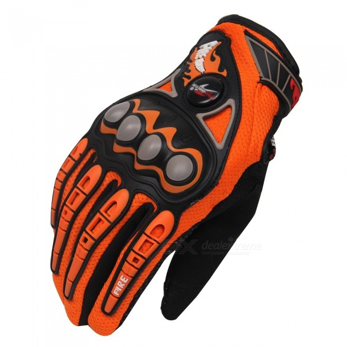 PRO-BIKER MCS-23 Motorcycle Racing Gloves - Orange (Size M / Pair)