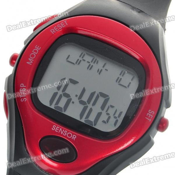 Digital Pulse Rate Calories Counter Timer Watch with Alarm - Black + Red (1*CR2032)