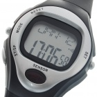 Digital Pulse Rate Calories Counter Timer Watch with Alarm - Black + Silver (1*CR2032)