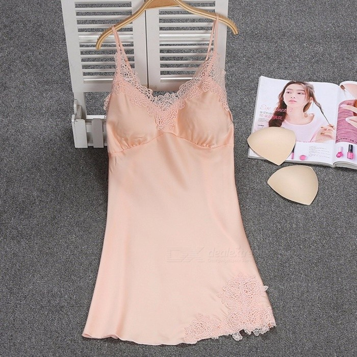 40e6677ea9 Summer Sexy V Neck Sling Strap Nightgown For Lady, Breathable Lace Padded  Nightwear Lingerie Champagne/XL
