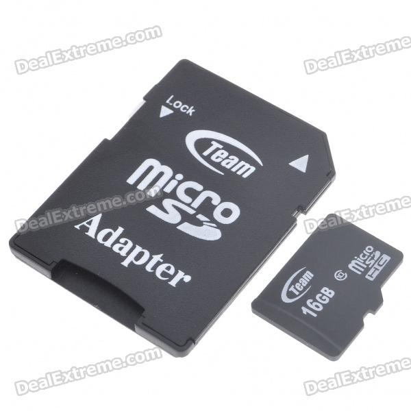 Genuine Team Group Micro SD/SDHC Card with SD Card Adapter (16GB/Class 10)