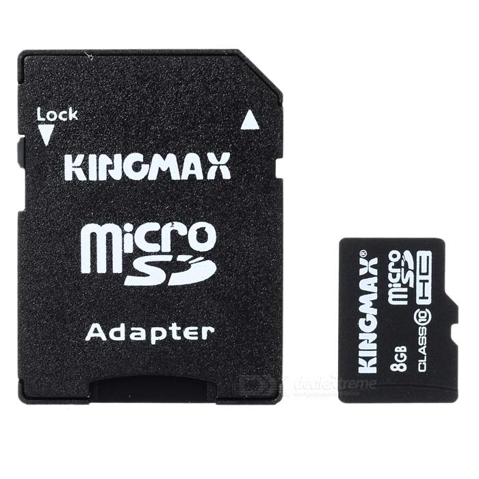 Genuine KingMax Micro SD/SDHC Card with SD Card Adapter (8GB/Class 10)