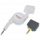 30-Pin Retractable Audio Cable with Dual Audio Split Adapter for iPad/iPhone