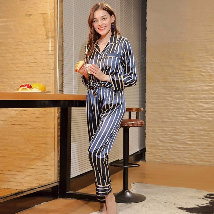 05ca357bffdd ... Spring New Spun Silk Nightwear Ladies Long Sleeved Trousers Home Two  Suit Women Pajamas Set TZ596 ...
