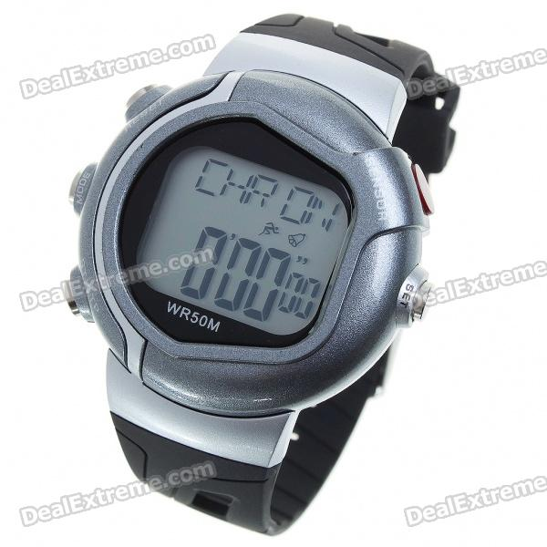 Digital Pulse Rate Calories Counter Timer Watch with Alarm - Black + Silver Grey (1*CR2032)