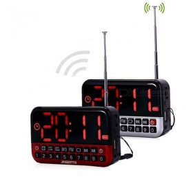 Mini Speakers Portable L80 Radio FM USB/TF Card MP3 Player LED Digital Alarm Clock Mini Speaker with Alarm Clock Red