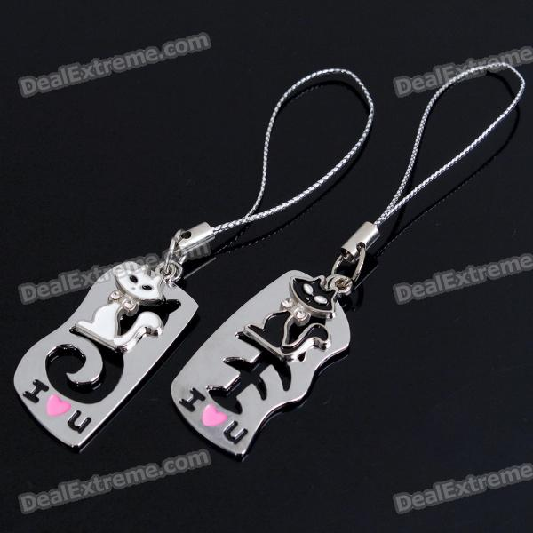 Unique Valentines Zinc Alloy Keychains - Cat &amp; Fishbone Set - DXKeychains<br>Cat &amp; Fishbone designed - Made of Zinc Alloy material - Great gift for your beloved - 2-keychains set<br>
