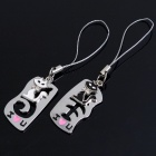 Unique Valentines' Zinc Alloy Keychains - Cat & Fishbone Set