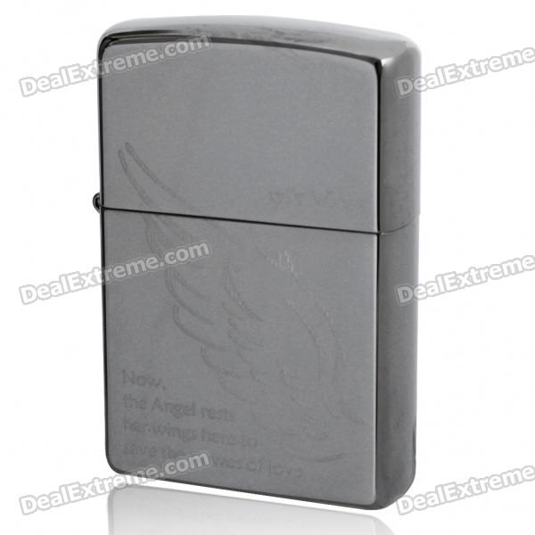 Genuine Zippo 3D Angel's Wings Pattern Fuel Lighter - Silver