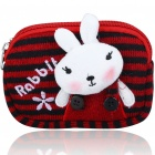 Cute Rabbit Knitting Double-Pocket Purse Bag