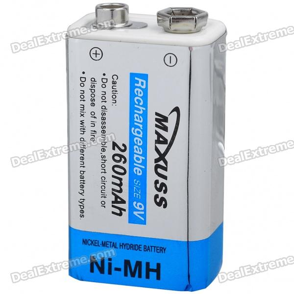 MAXUSS Rechargeable Ni-MH 9V 260mAh Battery 16 pcs aa aaa rechargeable batteries ni mh aa1 2v neutral rechargeable battery free shipping