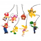 Cute Super Mario Figures Cell Phone Straps (8-Figure Set)