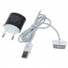 Stylish Mini USB Power Adapter with USB Data + Charging Cable for iPhone 4/iPad - Black (100~240V)