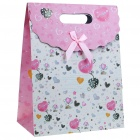 Lovely Gift Paper Bag - Pink + White (Big)