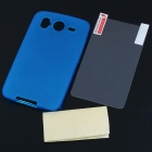 Protective Matte Soft PS Backside Case w/ Screen Guards + Cleaning Cloth for HTC Desire HD - Blue