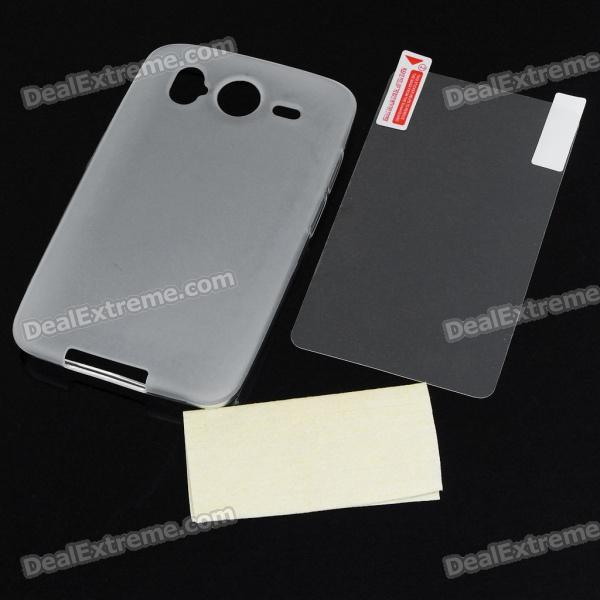 Protective Matte Backside Case w/ Screen Guards + Cleaning Cloth for HTC Desire HD - Translucent