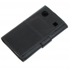 Protective Genuine Leather Case for Samsung i9000 - Black