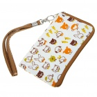 Cute Cartoon Pattern Soft Carrying Pouch Bag with Strap for Cell Phones & Gadgets