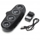 Four Port USB Charging Station with Blue Light for PlayStation 3 Move Controllers - Black