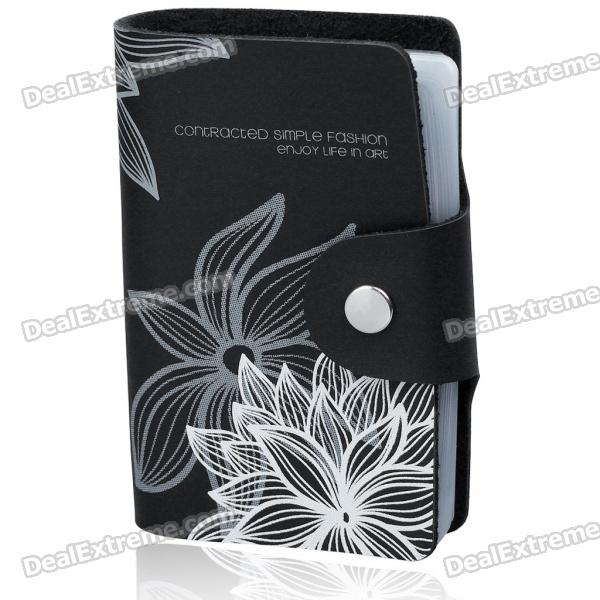 Stylish Genuine Leather Card Holder - Black (Holds 24-Piece)