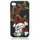 Protective Plastic Back Case with Skull Head & Flower Pattern for iPhone 4
