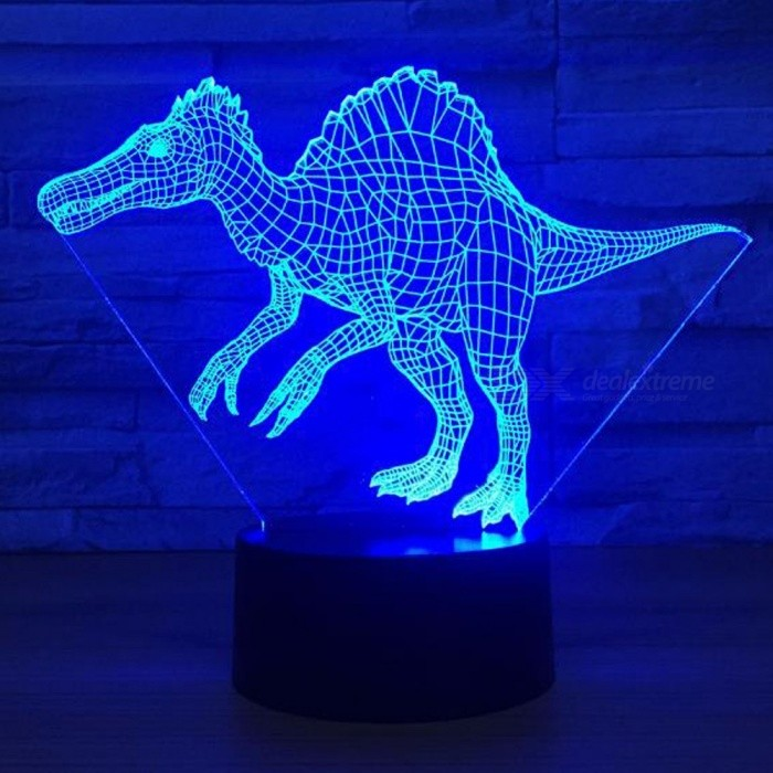 Spinosaurus Dinosaur LED 3D Visual Night Light Creative Bedroom ...