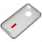 Silicone Backside Case with Screen Guard + Pouch + Stand for iPhone 4 (Translucent Black)