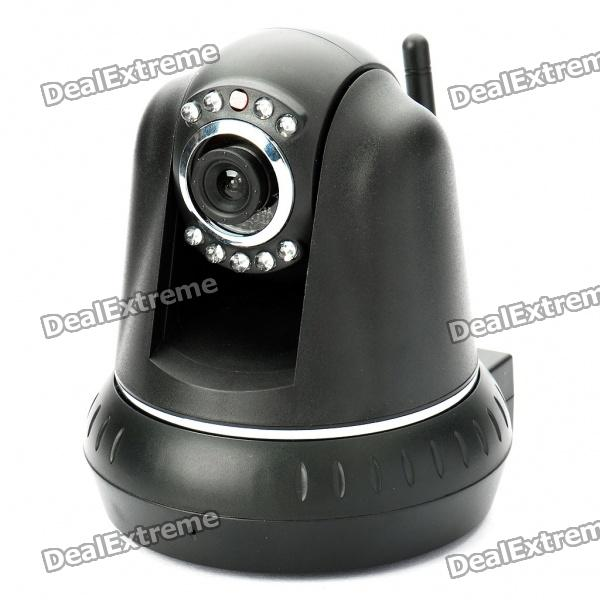 300KP Security Wireless CCTV IP Camera w/ 10-LED Night Vision/Microphone/Motion Detection - Black uniel лампа галогенная 00825 g4 35w капсульная прозрачная jc 12 35 g4 cl