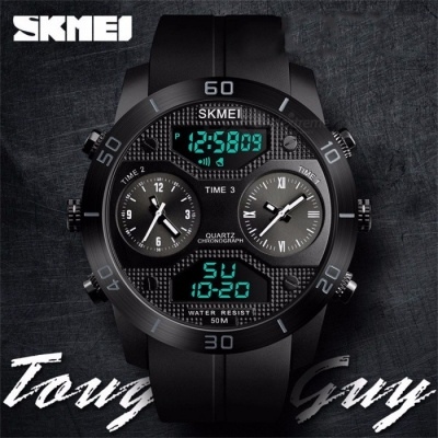 SKMEI Multifunction Waterproof Three Time Zone Men\'s Watch Student Electronic Watches Black
