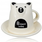 Cute Lovely Bear Style Coffee Mug Cup with Tray (Color Assorted)