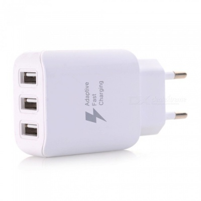 3-USB Wall Charger Travel Adapter, Fast Charging EU Plug