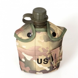 AoTu Outdoor US Military Kettle / Water Bottle + Aluminum Box + Insulation Nylon Bag - CP Camouflage