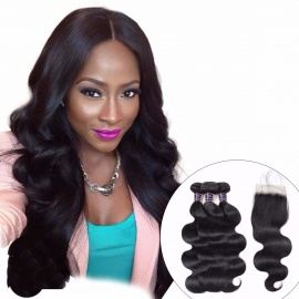 Peruvian Body Wave Lace Closure With Baby Hair, Non Remy 3 Bundles Hair, 100% Human Hair Bundles With Closure 12 14 16 Closure 10/Middle Part