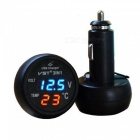 ESAMACT Car 3 in 1 Multifunction Car USB Charger Thermometer Voltmeter Digital Meter Monitor USB Charger for Mobile Phone - Blue
