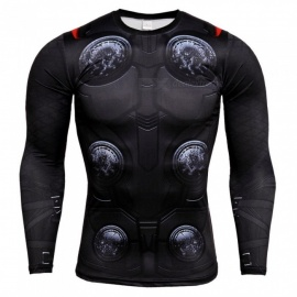 3D Printing Fast Drying Sports Long Sleeved Tight Shirt for Men - Black + Red (4XL)