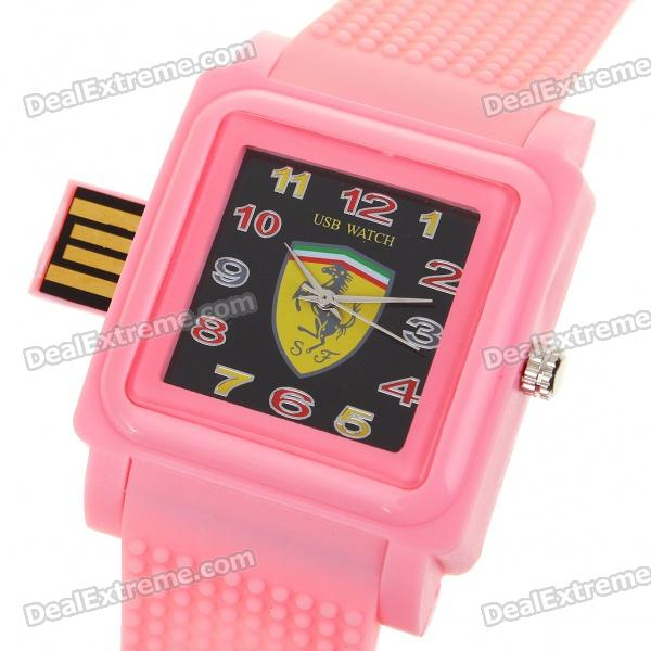 Fashion Ferrari Pattern Wrist Watch with USB 2.0 Flash/Jump Drive - Pink (2GB)