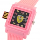 Fashion Ferrari Pattern Wrist Watch with USB 2.0 Flash/Jump Drive - Pink (4GB)
