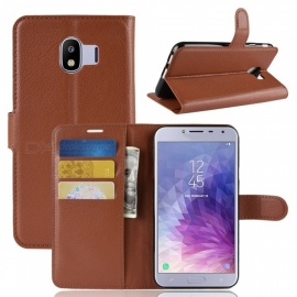 Naxtop Phone Wallet Flip Leather Holder Cover Case for Samsung Galaxy J4 (2018) EU - Brown