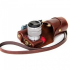 JEDX PU Leather Protective Camera Case Shell for Sony NEX-F3 18-55mm - Brown