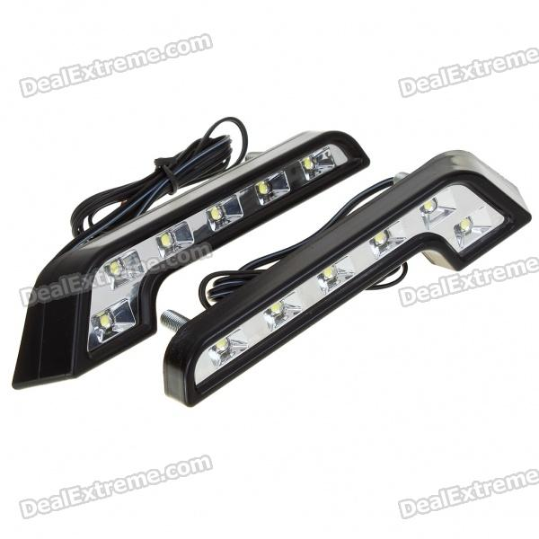 High Power Waterproof White 6W 6-LED 1200-Lumen Daytime Running Lamp/Lights for Car (DC12V/Pair) for mazda 6 2005 2006 2007 2008 2009 led car drl daytime running light daylight waterproof fog lamp fog run external lights 2pcs