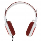 CY-820 On-Ear Stereo Headphones w/ Microphone & Volume Control - White + Red (3.5mm Jack)