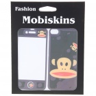 Stylish Cartoon Monkey Style Case Skin Cover Stickers for iPhone 4 - Black