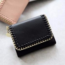Simple Square Lady Wallet, Short Paragraph Braided Lichee Pattern Small Wallet, Mini Card Holder Purse Black