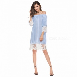 Stylish Boat Neck Dress Stripe Lace Tops Women\'s Beach Dress Fashion Clothes Clothing Multi/S