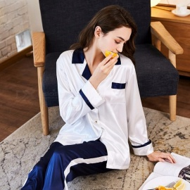 Stylish Artificial Silk Pajamas Set Long Sleeves Top + Pants Set Nightwear Nightgown Homewear White/M